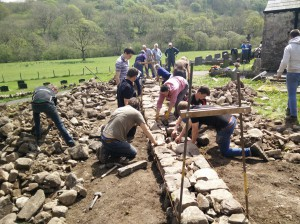 Young farmers dry stone walling